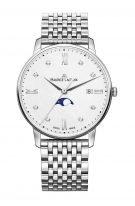 Женские наручные часы Maurice Lacroix Eliros -EL1096_SS002_150_1 с фазами Луны в стальном корпусе, на светлом перламутровом циферблате бриллиантовые индексы, тонкие стрелки, стальной браслет.