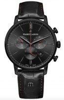 Мужские наручные часы Maurice Lacroix Eliros -EL1098_PVB01_310_1 хронограф в черненном корпусе, на черном циферблате счетчики хронографа, римские цифры и часовые индексы, тонкие стрелки, черная кожа.