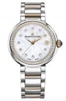 Женские наручные часы Maurice Lacroix Fiaba -FA1007_PVP23_170_1 с датой в стальном корпусе с PVD покрытием, на светлом перламутровом циферблате бриллиантовые индексы, тонкие часовые метки и стрелки, стальной с PVD покрытием браслет.