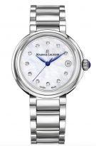 Женские наручные часы Maurice Lacroix Fiaba -FA1007_SS002_170_1 с датой в стальном корпусе, на светлом перламутровом циферблате бриллиантовые индексы, тонкие часовые метки и стрелки, стальной браслет.