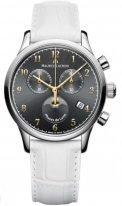 Женские наручные часы Maurice Lacroix Les Classiques -LC1087_SS001_821 хронограф с фазами Луны в стальном корпусе, на темном циферблате счетчики хронографа, тонкие часовые метки и стрелки, белый кожаный ремешок.