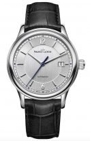 Мужские наручные часы Maurice Lacroix Les Classiques -LC6098_SS001_120_1 с датой в стальном корпусе, на серебристом циферблате тонкие часовые метки и стрелки, черный кожаный ремешок.