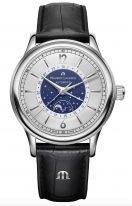 Мужские наручные часы Maurice Lacroix Les Classiques -LC6168_SS001_122_1 с датой и фазами Луны в стальном корпусе, на серебристом циферблате центральная синяя часть и люминесцентные метки и стрелки, черный кожаный ремешок.