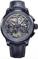 Мужские наручные часы Maurice Lacroix Masterpiece -MP6028_PVC01_002_1 хронограф в черненном стальном корпусе, на темном скелетированном циферблате люминесцентные стрелки, синий кожаный ремешок.
