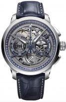 Мужские наручные часы Maurice Lacroix Masterpiece -MP6028_SS001_002_1 хронограф в стальном корпусе, на темном скелетированном циферблате люминесцентные стрелки, синяя кожа кроко.