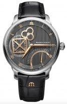 Мужские наручные часы Maurice Lacroix Masterpiece -MP6058_SS001_310_1 ретроградная дата в стальном корпусе, на сером гильошированном циферблате золотые стрелки, черный ремешок кроко.
