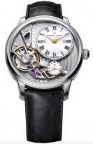 Мужские наручные часы Maurice Lacroix Masterpiece -MP6118_SS001_112_1 в стальном корпусе, на серебристом гильошированном смещенном циферблате родиевые люминесцентные стрелки, черный ремешок кроко.