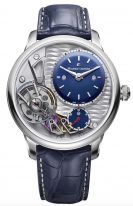 Мужские наручные часы Maurice Lacroix Masterpiece -MP6118_SS001_434_1 в стальном корпусе, на синем гильошированном смещенном циферблате родиевые люминесцентные стрелки, синяя кожа кроко.
