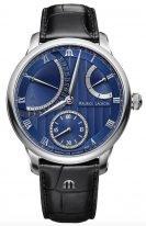 Мужские наручные часы Maurice Lacroix Masterpiece -MP6568_SS001_430_1 с запасом хода и ретроградной датой в стальном корпусе, на синем гильошированном циферблате родиевые люминесцентные стрелки, черная кожа кроко.