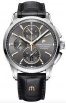 Мужские наручные часы Maurice Lacroix Pontos-PT6388_SS001_331_1 хронограф с датой в стальном корпусе, на темном циферблате счетчики хронографа, люминесцентные метки и стрелки, черная кожа.
