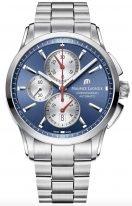 Мужские наручные часы Maurice Lacroix Pontos-PT6388_SS002_430_1 хронограф в стальном корпусе, на синем циферблате белые счетчики хронографа, люминесцентные метки и стрелки, стальной браслет.