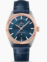 Мужские наручные часы Omega Constellation-130_23_39_21_03_001 в стальном корпусе с рифленным золотым безелем, на синем циферблате родиевые люминесцентные часовые индексы и стрелки, синяя кожа кроко.