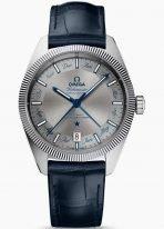 Мужские наручные часы Omega Constellation-130_33_41_22_06_001 годовой календарь в стальном корпусе, на сером циферблате с радиальным сатинированием часовые индексы с обозначениями на них названиями месяцев, синяя кроко.