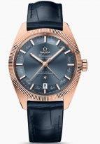 Мужские наручные часы Omega Constellation-130_53_41_22_03_001 годовой календарь в розовом золоте, на синем циферблате золотые часовые индексы с обозначениями на них названиями месяцев, золотые люминесцентные стрелки, синяя кроко.