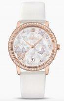 Женские наручные часы Omega De Ville-424_57_37_20_55_003 с датой в розовом золоте с бриллиантовым безелем, на белом перламутровом циферблате декоративный узор из бабочек и девятью бриллиантовыми индексами, золотые стрелки, белый сатин.