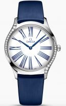 Женские наручные часы Omega De Ville-428_17_36_60_04_001 в стальном корпусе с бриллиантами, на белом лакированном циферблате римские цифры синего цвета и элегантные стрелки, синий текстильный ремешок.