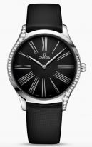 Женские наручные часы Omega De Ville-428_17_39_60_01_001 в стальном корпусе с бриллиантами, на черном лакированном циферблате римские цифры и элегантные покрытые родием стрелки, черный текстильный ремешок.