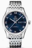 Мужские наручные часы Omega De Ville-433_10_41_22_03_001 с календарем в стальном корпусе, на синем циферблате с делением на две зоны римские цифры и тонкие стрелки из белого золота, стальной браслет.