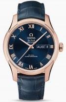 Мужские наручные часы Omega De Ville-433_53_41_22_03_001 с календарем в розовом золоте, на синем циферблате с делением на две зоны римские цифры и золотые тонкие стрелки, синяя кроко.