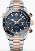 Мужские наручные часы Omega Seamaster-215_20_46_51_03_001 хронограф с датой в биколорном корпусе, на синем керамическом циферблате арабские цифры и люминесцентные метки и стрелки, браслет биколорный.