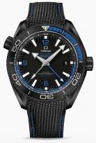 Мужские наручные часы Omega Seamaster-215_92_46_22_01_002 со временем второго часового пояса в керамическом корпусе, на черном керамическом циферблате синие арабские цифры и люминесцентные метки и стрелки, черный каучук.