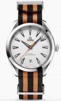 """Мужские наручные часы Omega Seamaster-220_12_41_21_02_003 с датой в стальном корпусе, на серебристом циферблате горизонтальный узор в виде """"тиковой концепции"""", люминесцентные стрелки и часовые индексы, тканевый ремешок NATO."""