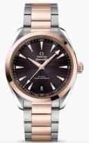 """Мужские наручные часы Omega Seamaster-220_20_41_21_06_001 с датой в биколорном корпусе, на коричневом циферблате горизонтальный узор в виде """"тиковой концепции"""", люминесцентные стрелки и часовые индексы, биколорный браслет."""