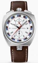 Мужские наручные часы Omega Seamaster-225_12_43_50_04_001 со временем второго часового пояса и хронографом, набелом циферблате счетчики хронографа и контрастные цифры с индикацией день/ночь, люминесцентные метки и стрелки.