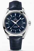 """Мужские наручные часы Omega Seamaster-231_13_43_22_03_001 со временем второго часового пояса в стальном корпусе, на синем циферблате с узором в стиле """"тиковой концепции"""" люминесцентные родиевые часовые индексы и стрелки, синяя кроко."""