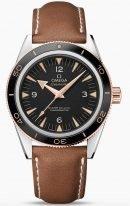 Мужские наручные часы Omega Seamaster-233_22_41_21_01_002 в биколорном корпусе (сталь/розовое золото), на черном циферблате люминесцентные золотые часовые индексы и стрелки, коричневая кожа кроко.