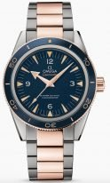 Мужские наручные часы Omega Seamaster-233_60_41_21_03_001 в биколорном корпусе, на синем циферблате люминесцентные золотые часовые индексы и стрелки, биколорный браслет.