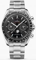 Мужские наручные часы Omega Speedmaster-304_30_44_52_01_001 с хронографом и фазами Луны в стальном корпусе, на черном циферблате с радиальным сатинированием, люминесцентные часовые метки и стрелки, стальной браслет.