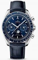 Мужские наручные часы Omega Speedmaster-304_33_44_52_03_001 хронограф с фазами Луны в стальном корпусе, на синем циферблате с радиальным сатинированием, люминесцентные часовые метки и стрелки, синяя кожа кроко.