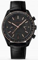 Мужские наручные часы Omega Speedmaster-311_63_44_51_06_001 хронограф с датой в черном керамическом корпусе с золотым безелем, на матовом сером циферблате, золотые люминесцентные часовые метки и стрелки, черная кожа кроко.