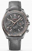 Мужские наручные часы Omega Speedmaster-311_63_44_51_99_001 хронограф с датой в корпусе из серой керамики, на метеоритовом сером циферблате золотые люминесцентные часовые метки и стрелки, серая кожа кроко.