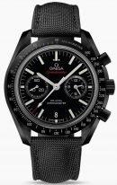 Мужские наручные часы Omega Speedmaster-311_92_44_51_01_007 хронограф с датой в керамическом корпусе, на черном керамическом циферблате люминесцентные часовые метки и золотые стрелки, черный нейлоновый ремешок.