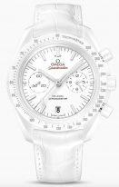 Женские наручные часы Omega Speedmaster-311_93_44_51_04_002 хронограф с датой в белом керамическом корпусе, на белом керамическом циферблате люминесцентные часовые метки и стрелки, белая кожа кроко.