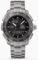 Мужские наручные часы Omega Speedmaster- 318_90_45_79_01_001 многофункциональные часы в титановом корпусе, на черном циферблате с ЖК-дисплеем люминесцентные часовые метки и стрелки, титановый браслет.