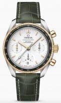 Женские наручные часы Omega Speedmaster-324_23_38_50_02_001 в биколорном корпусе (сталь и желтое золото), на серебристом опаловом циферблате счетчики хронографа, золотые часовые метки и люминесцентные стрелки, зеленая кожа кроко.