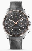 Мужские наручные часы Omega Speedmaster-329_23_44_51_06_001 хронограф в стальном корпусе с золотым безелем, на матовом сером циферблате минутная шкала похожа на спидометр гоночных машин, часовые метки и люминесцентные стрелки, серый кроко.