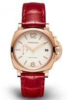 Женские классические часы Panerai Luminor Due PAM01045 в розовом золоте, белый циферблат с люминесцентными цифрами, стрелками, красная кожа кроко