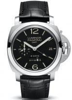 Мужские спортивные часы Panerai Luminor-PAM00233 со временем второго часового пояса и запасом хода на 8 дней, в стальном корпусе, черный циферблат с люминесцентными цифрами, метками и стрелками, черная кожа кроко.