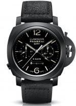 Мужские спортивные часы Panerai Luminor-PAM00317 хронограф со временем второго часового пояса и запасом хода в керамическом корпусе, на черном циферблате цифры, метки и стрелки люминесцентные, черная телячья кожа.
