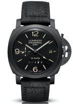 Мужские спортивные часы Panerai Luminor-PAM00335 со временем второго часового пояса и запасом хода в корпусе из черной керамики, черный циферблат с люминесцентными цифрами, метками и стрелками, черный телячий ремешок.