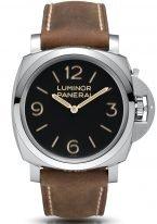 Мужские спортивные часы Panerai Luminor-PAM00372 в стальном корпусе, на черном циферблате люминесцентные арабские цифры, метки и стрелки, бежевый телячий ремешок.