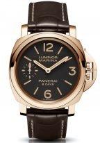 Мужские наручные часы Panerai Luminor-PAM00511 в розовом золоте. коричневый циферблат с люминесцентными цифрами, метками и стрелками, коричневый ремешок кроко.