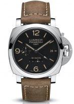 Мужские наручные часы Panerai Luminor-PAM00533 со временем второго часового пояса и запасом хода, в стальном корпусе, с черным циферблатом с люминесцентными цифрами, метками и стрелками, бежевый телячий ремешок.