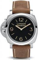 Мужские спортивные часы Panerai Luminor-PAM00557 модель под левую руку в стальном корпусе, на черном циферблате люминесцентные арабские цифры, метки и стрелки, бежевый телячий ремешок.