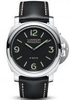 Мужские спортивные часы Panerai Luminor-PAM00560 в стальном корпусе, на черном циферблате люминесцентные цифры, метки и стрелки, черный телячий ремешок.