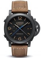 Мужские спортивные часы Panerai Luminor-PAM00580 хронограф flyback в керамическом корпусе, на черном циферблате люминесцентные цифры, метки и стрелки, бежевая телячья кожа.